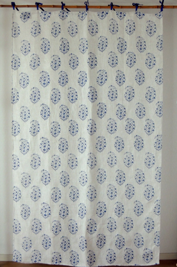 Curtains Country Partitions And Floral Linen Agreeable Flower Block Print Hemp 100 Navy Width 110 Cm X Length 180