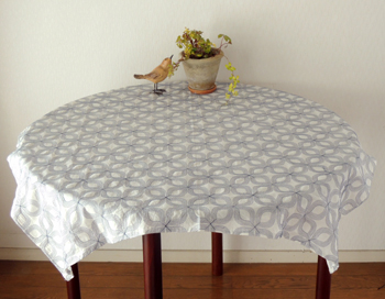 Tablecloth North Europe Country Flower Embroidery Fashion Stitch Flower  Embroidery Race Natural Navy Dark Blue White White Cotton Square Circle  Cyclamate ...