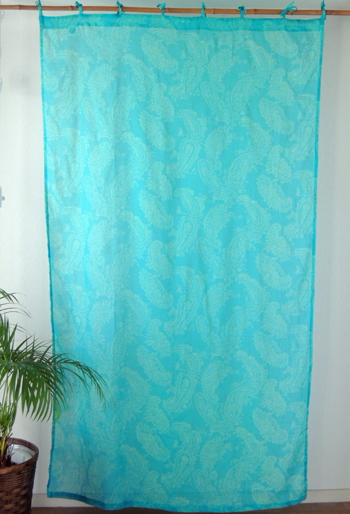 Curtains Dividers Floral Oriental Pasley India Cotton Turquoise TQ And 178 Cm X 105
