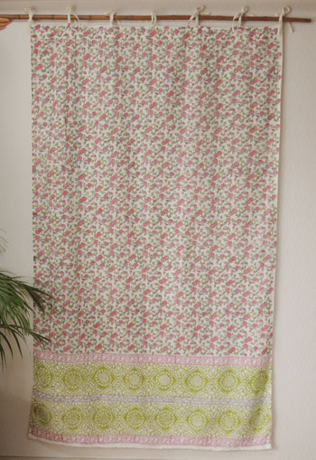 Curtains Asian Floral Small Flower India Cotton Ascent Block Print White X Pink PI Partition Height 178 Cm Width 110