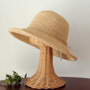 麦わら帽子 ラフィアハット おしゃれ かぎ編み つば広 ブリムハット 帽子 ハット レディース ファインクロシェ デリエ ナチュラル ベージュ NT フリーサイズ