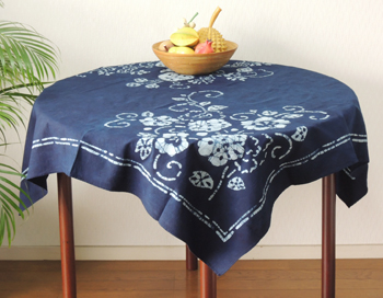 Tablecloth, Japanese Style Indigo Dyeing, Sum Pattern, Flower Arabesque,  Indigo Blue /NV .110cm *110cm