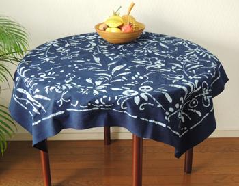 靛蓝染料台布,日式,日式,藤花、 靛蓝的颜色/NV,110 × 110 厘米