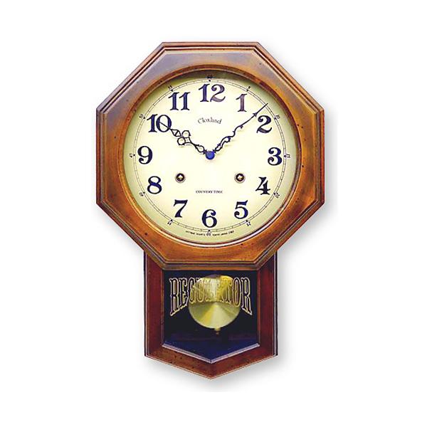あす楽 送料無料 さんてる アンティーク 電波 振り子掛時計 DQL624 八角 アンティークブラウン 昭和レトロ 振り子時計 ウォールクロック 電波時計 壁掛け時計 柱時計 日本製