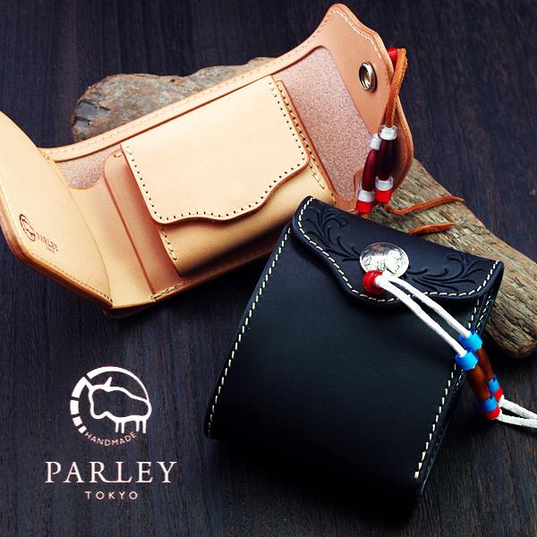 あす楽 送料無料 パーリィー PARLEY バイカーシリーズ カービング MC-04 5セント硬貨 二つ折り財布 ウォレット コンチョ ヌメ革 エイジング レザー タンニンなめし牛革 メンズ 財布