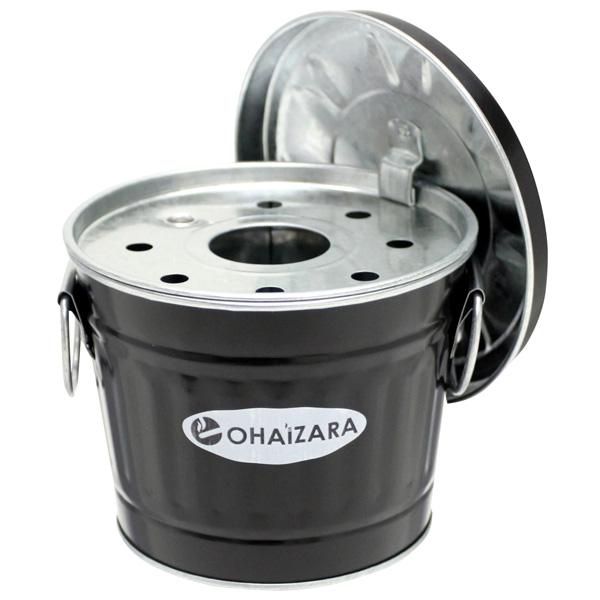 トタン素材でオシャレなデザインのバケツ型卓上灰皿 OHAIZARA オハイザラ OHB1 国産品 1L オバケツ灰皿 ランキング総合1位 ブラック