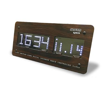 SLOWER LEDクロック スロウワー LEDクロック SLOWER スターキー SLW099 ウッド ウッド Starkey アラーム付き電波時計, 大きいサイズの店ビッグエムワン:065486c0 --- jpscnotes.in