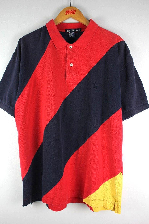 USED トラスト NAUTICA ノーティカ COLOR BLOCK POLO SHIRTS red×navy×yellow カラーブロック 90'S ビンテージ ポロシャツ 90年代 信用