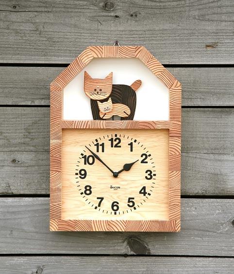 「キコリの時計」 木の振子時計 【ネコの親子の時計】 新築祝 結婚祝 壁掛時計 置き時計