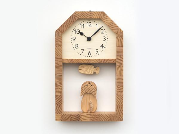 「キコリの時計」 木の振子時計 【ネコとサカナの時計】