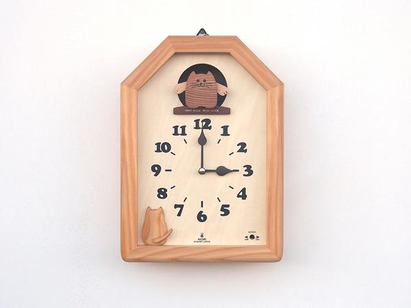 【New!!】「キコリの時計」 木の振子時計 【カッコー猫の時計】