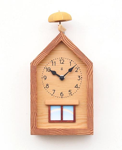 【New!!】 「キコリの時計」 木の振子時計 【雨あがりの時計】 新築祝 結婚祝 壁掛時計 置き時計