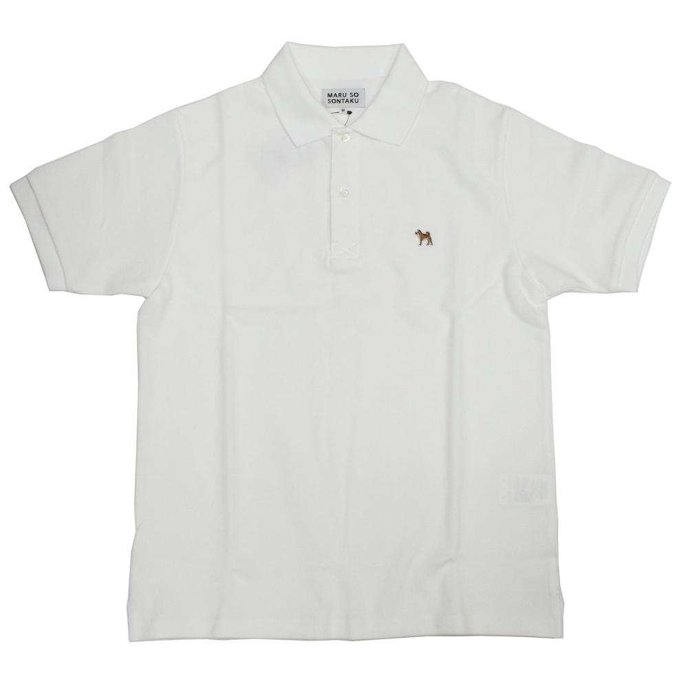 SONTAKU/忖度(ソンタク)【柴犬ポロシャツ】ワッペン付き鹿の子半袖ポロシャツ「日本製」 891HD99075 ホワイト
