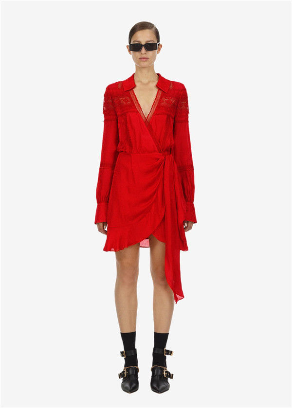 Self-Portrait ワンピース red trimmed wrap dress 定価$360 レディース 海外 結婚式 ドレス 人気 休日 きれいめ ブロガー 年間定番 おしゃれ フォーマル セルフポートレート パーティー