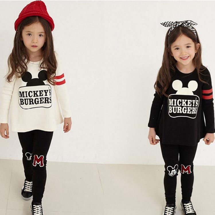 子供服キッズ服mikkyミキマウスディズニートップスレギンスセットアップキッズジュニア上下セット2点セット100cm110cm120cm130cm140cm韓国子供服送料無料