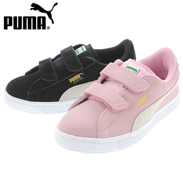 23ba01de6c45 Child Puma PUMA suede cloth 2 strap PS SUEDE 2 STRAPS PS 359595 Puma black    Puma white (01) pink lady   Puma team gold (23)