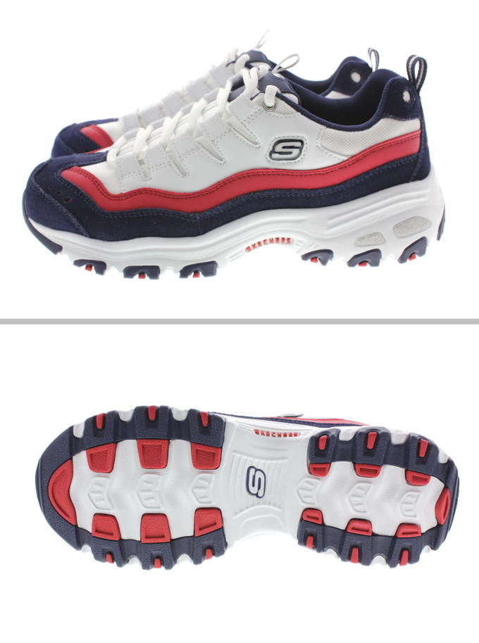 It is スケッチャーズ SKECHERS sneakers D.LITES SURE THING white navy red 13141 WNVR [during period limited 10% OFF coupon distribution]