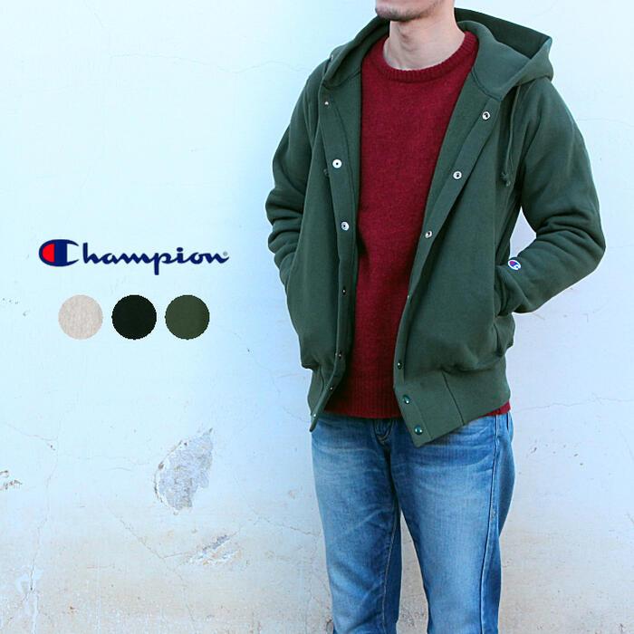 チャンピオン Champion パーカー リバースウィーブ (赤タグ) スナップ フード スウェットシャツ (12.5oz) C5-E103 オートミール(810) ネイビー(370) モスグリーン(560) [T][WA]【FNFF】