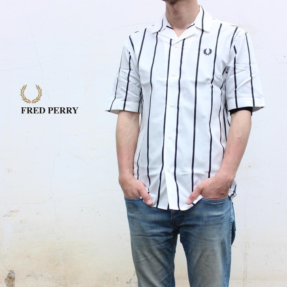 [ネコポス配送可] フレッドペリー FRED PERRY ウェア ストライプド リビアカラー シャツ STRIPED REVERE COLLAR SHIRT スノーホワイト M8658-129 [WA]【GOOJ】