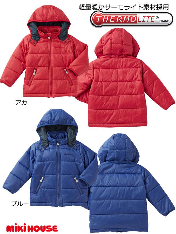 ミキハウス セール mikihouse 10%OFF SALE 送料無料 軽量暖かサーモライト搭載シンプル ナイロン中綿ジャンパー(120)13-3708-976子供服 キッズ