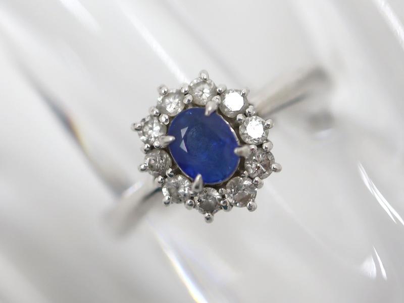 プラチナ 指輪 ダイヤ 大特価 店 Jewelry Pt900 サファイア ダイヤモンド リング 代金引換不可 S:0.52ct 中古 D:0.30ct 11.0号 tg1010 5.5g