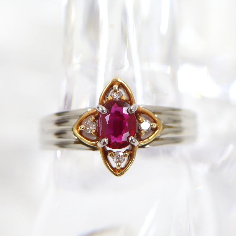 フラワーモチーフ Jewelry K18YG PT900 デザインリング コンビ イエローゴールド D0.06ct 激安 激安特価 送料無料 ng0451 5.3g 中古 プラチナ 全商品オープニング価格 R0.45ct 代金引換不可