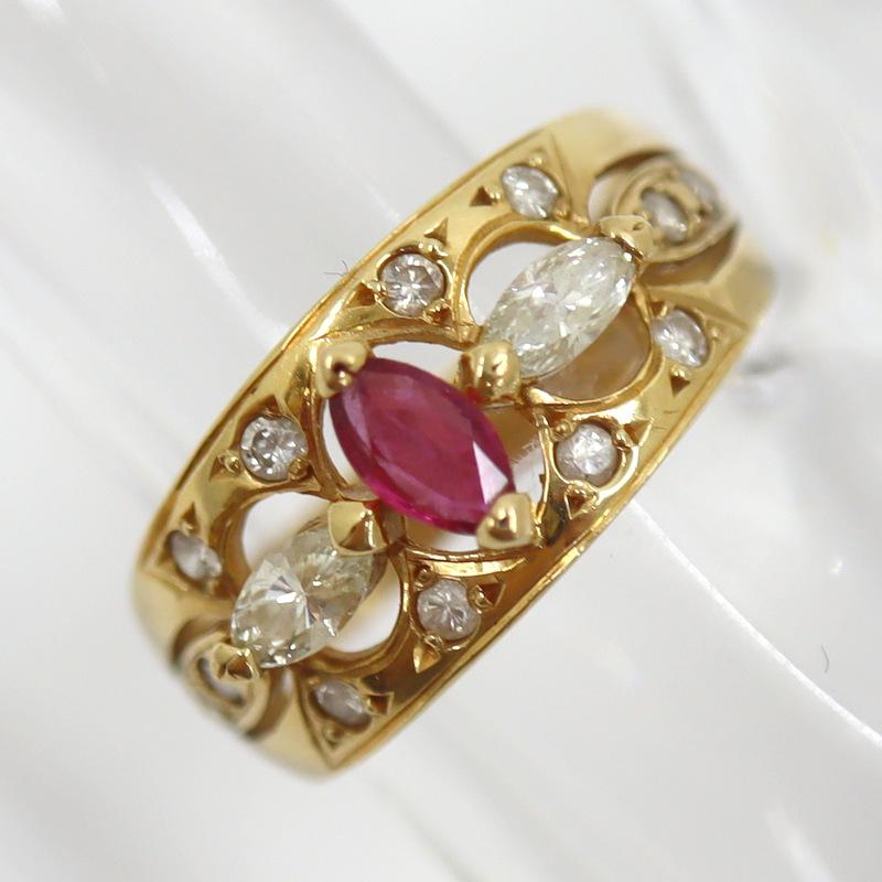 イエローゴールド Jewelry K18YG ルビー ダイヤモンド デザインリング D:0.36ct kr03623ng 10号 4.2g 至上 代金引換不可 中古 定番から日本未入荷 R:0.24ct