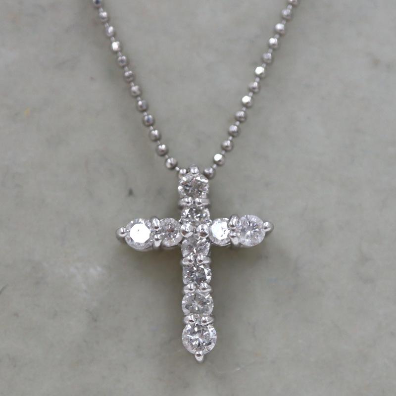 プラチナ Jewelry Pt900 Pt850 10P 激安☆超特価 ダイヤモンド クロス 中古 D:0.50ct 販売期間 限定のお得なタイムセール ネックレス 3.7g 39cm kr03617hm 代金引換不可