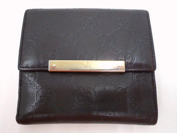 【GUCCI】シマ Wホック 二つ折り財布/112664/レザー/ブラウン×ゴールド/グッチ【中古】/E3a0251_3