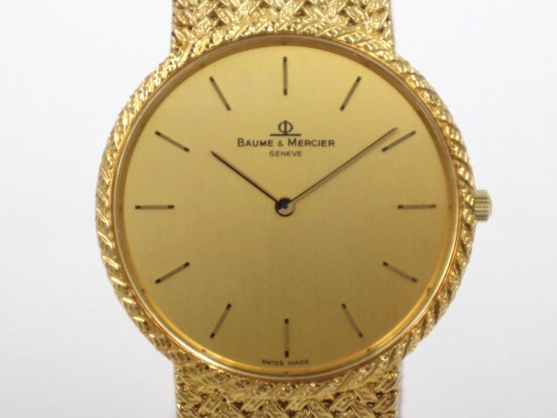 【BAUME & MERCIER】ボーム&メルシエ 金無垢 腕時計 18K ゴールド 15600 654/アンティークウォッチ クォーツ【中古】【代金引換不可】/ar0557
