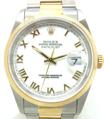 最上の品質な 【★点検・磨き済み★】《送料込》 ROLEX ロレックス 『デイトジャスト』 メンズ 腕時計 《自動巻き オートマ 機械式》 SS×YG×ホワイト文字盤×ローマンインデックス 《Ref:16203 T番》 14947 《1ヵ月保証付き!!》 @【】, surou web shop 4d9d4dd7