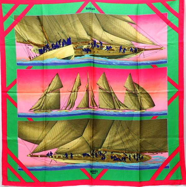 【★美品・クリーニング済み★】 HERMES エルメス 『カレ90』 《RAFALES/ラファール/疾風》 レアカラー/ピンク×オレンジ×グリーン/船/ヨット/海/船員/夕日/スカーフ/ストール/カレ/シルク100%/90×90/1988SS 26656K0139 @【中古】