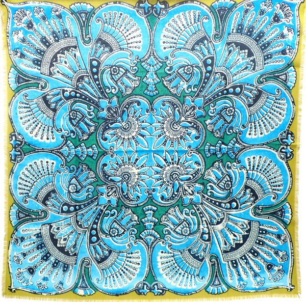 【★プレゼントに★】《送料込》 HERMES エルメス 『カレH 90 フリンジ』 《Mumbai/ムンバイ》 ブルー×グリーン/ウール 65% シルク 35%/スカーフ/カレ/カレ90/メンズ/90cm×90cm【★セレブ愛用★】26687K0139 @【中古】