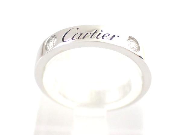 【磨き済み★美品★】《送料込》  Cartier カルティエ 『エングレーブド リング 』 2Pダイヤ  《 #44 (国内サイズ:約4号)》 Pt950/プラチナ/指輪 リング ペアリング/ダイヤモンド エングレーブドリング 27784k1129 @【中古】