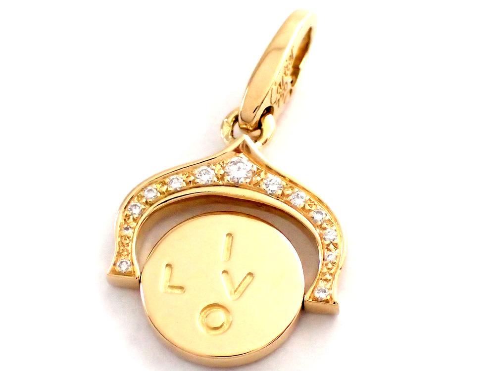 【★美品・新品磨き済み★】《送料込》 Cartier カルティエ 『I LOVE YOU チャーム』 750/イエローゴールド/18金/K18/ アイラブユー/パヴェダイヤモンド/ペンダントトップ/ 27930K1129 @【中古】