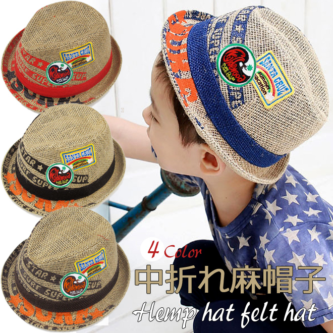 "Korea kids clothing clearance sale SURF ☆ SUPER STAR hemp turu straw hat with the emblem 6300 yen (tax incl.) or more purchased at ""fashionable キッズミオ."""