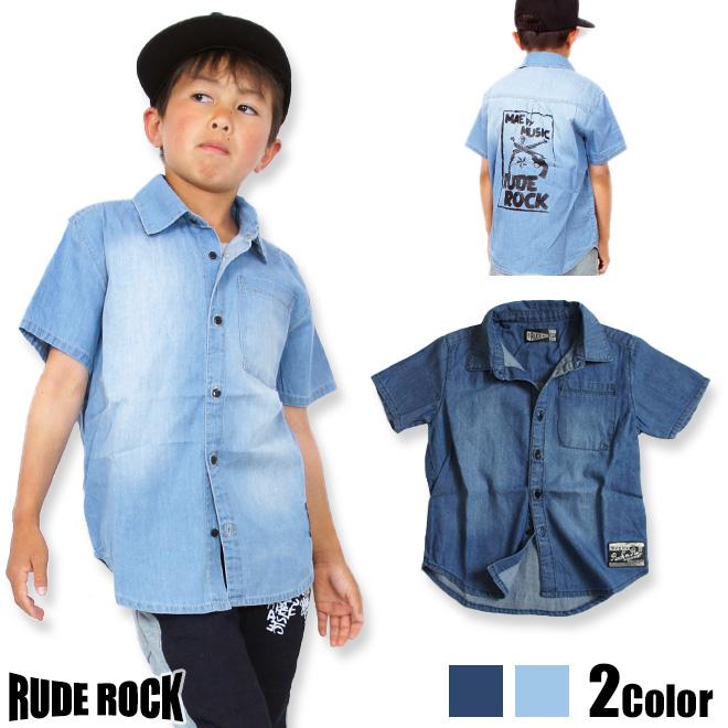 76c564c91a3 KIDSMIO  Korea kids clothes RDEROCK back print short sleeve denim ...