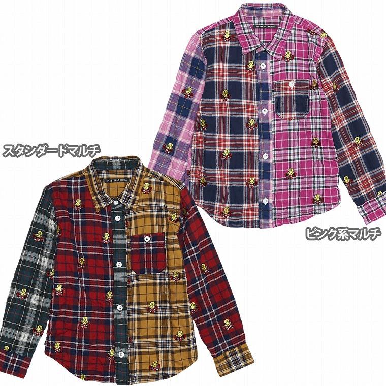 Hystericmini ヒステリックミニ PUNK MINI総柄刺繍 ヘリンボーンシャーリングチェックシャツ