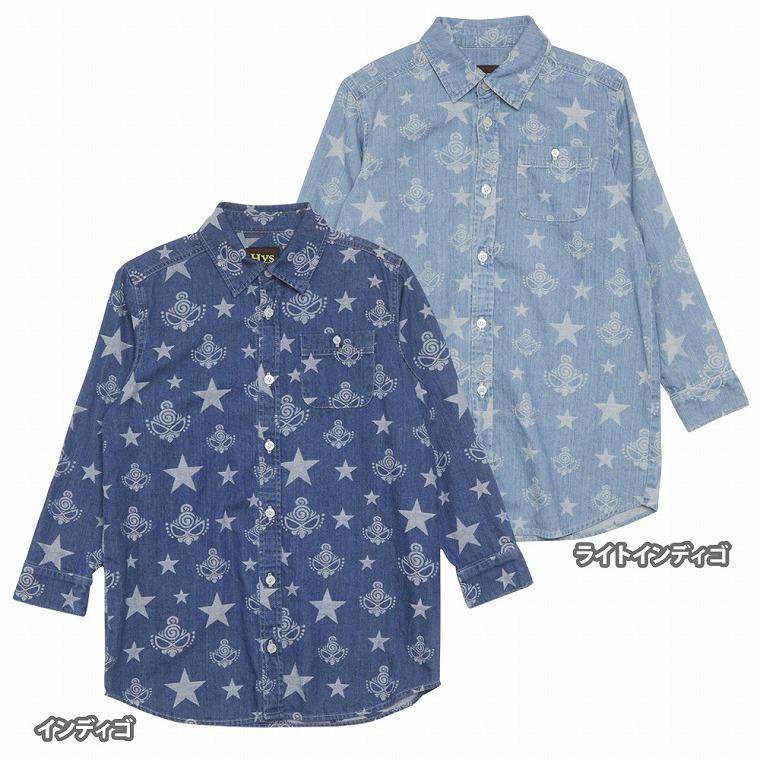 Hystericmini ヒステリックミニ STAR WITH MINI ジャガードライトオンスデニム BIGシャツ