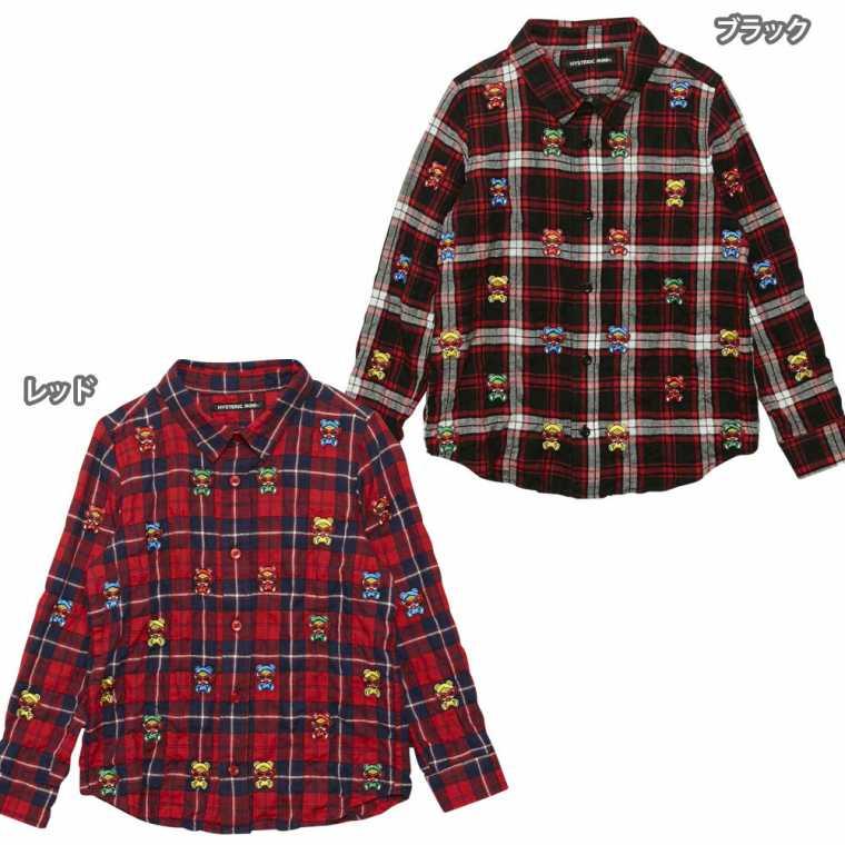 Hystericmini ヒステリックミニ TEDDY MINIパネル刺繍チェックシャツ
