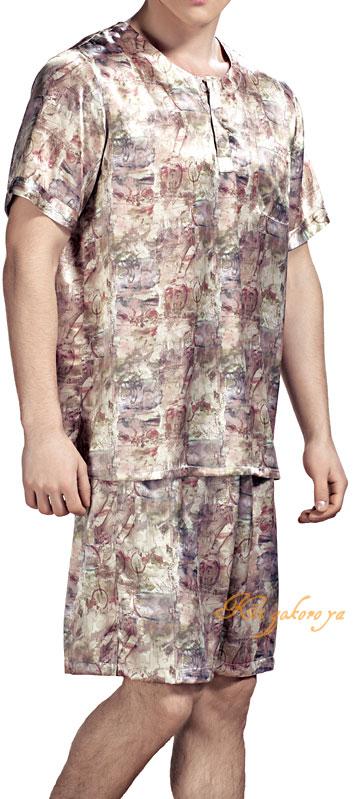 メンズパジャマ【アート柄】半袖半ズボン ベージュ シルク100%【送料無料】父の日 敬老の日 プレゼント ギフト【smtb-KD】【楽ギフ_包装選択】あす楽対応