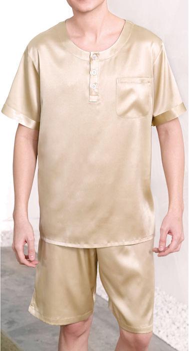 半袖&半ズボン 19匁 無地 ゴールド メンズシルク100%パジャマ 絹100% 紳士【送料無料】父の日 敬老の日 プレゼント ギフト【smtb-KD】【楽ギフ_包装選択】あす楽対応