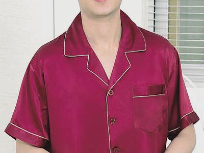シルク100%パジャマ メンズ【無地】半袖 赤紫色パープル【送料無料】父の日 敬老の日 プレゼント ギフト【smtb-KD】あす楽対応