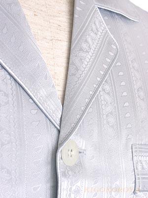 アウトレット メンズXXLのみ 高級シルクパジャマ【雨花柄】半袖 灰色(グレー) 紳士/メンズ【送料無料】【smtb-KD】あす楽対応