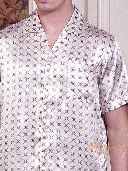 クロスU柄 ライトベージュ 半袖メンズシルク100%パジャマ 絹100% 紳士【送料無料】父の日 敬老の日 プレゼント ギフト【smtb-KD】【楽ギフ_包装選択】あす楽対応