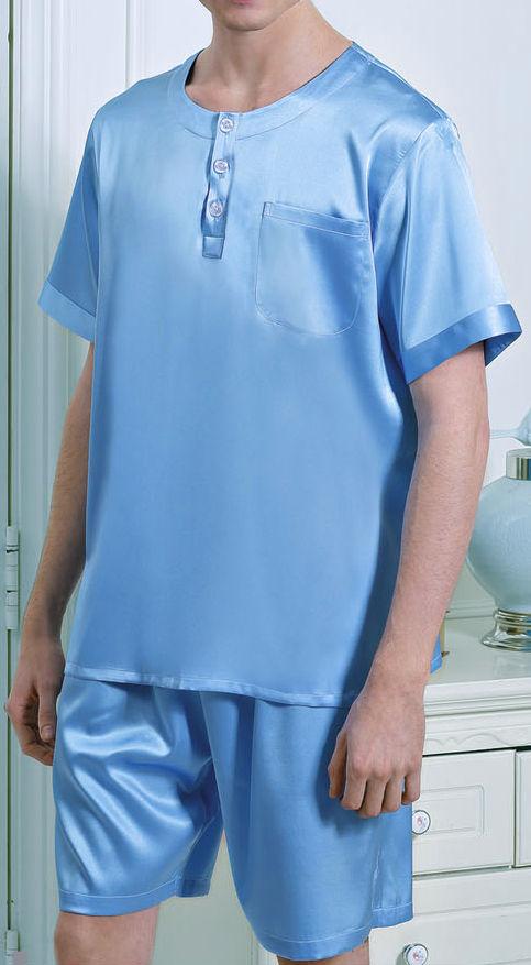 無地 ブルー 空色 半袖&半ズボン メンズ 19匁 シルク100%パジャマ 絹100% 紳士【送料無料】父の日 敬老の日 プレゼント ギフト【smtb-KD】【楽ギフ_包装選択】あす楽対応