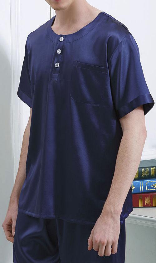 無地 ネイビー紺色 半袖&半ズボン 19匁 メンズシルク100%パジャマ 絹100% 紳士【送料無料】父の日 敬老の日 プレゼント ギフト【smtb-KD】【楽ギフ_包装選択】あす楽対応