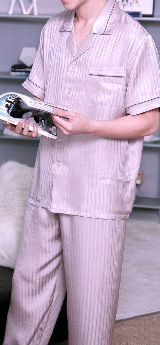シルク100%パジャマ 半袖メンズ ストライプ 紫色パープル 絹100% 紳士【送料無料】父の日 敬老の日 プレゼント ギフト【smtb-KD】【楽ギフ_包装選択】あす楽対応