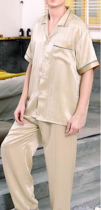 シルク100%パジャマ 半袖メンズ ストライプ 金色ゴールド 絹100% 紳士【送料無料】父の日 敬老の日 プレゼント ギフト【smtb-KD】【楽ギフ_包装選択】あす楽対応