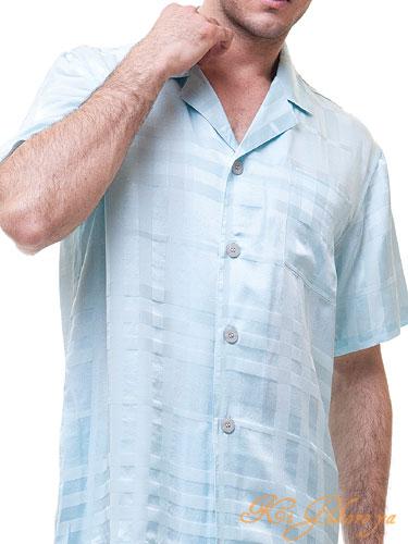 高級シルクパジャマ メンズ 半袖【ストライプ】ブルー絹100% メンズ/紳士 L/XL/XXLサテンナイトウェア/ルームウェアll大きいサイズ【送料無料】父の日 敬老の日 プレゼント ギフト【smtb-KD】【楽ギフ_包装選択】あす楽対応
